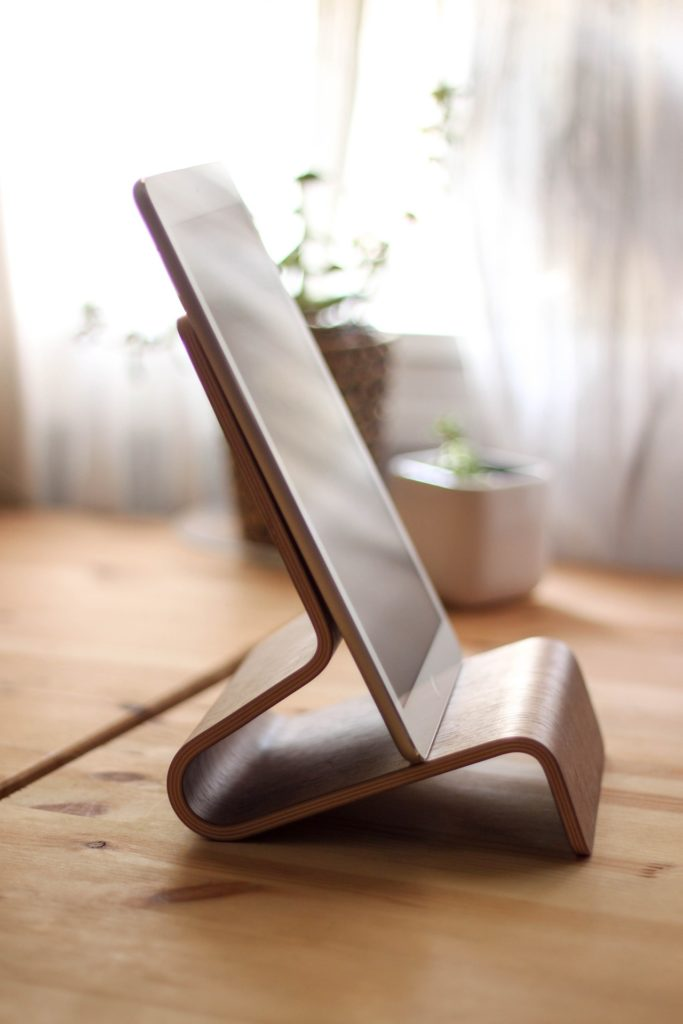A tablet on a stand
